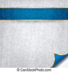 abstract grunge background with blue ribbon on white