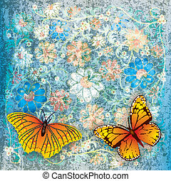 abstract grunge background with butterflies and flowers