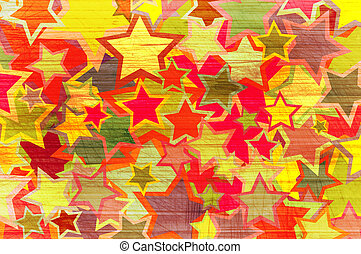 Abstract grunge background with colour stars.