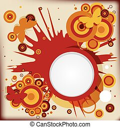 Abstract grunge background  with explosion circles and butterflies.