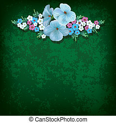 abstract grunge background with flowers on green