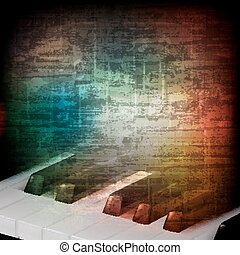 abstract music grunge vintage background with piano keys