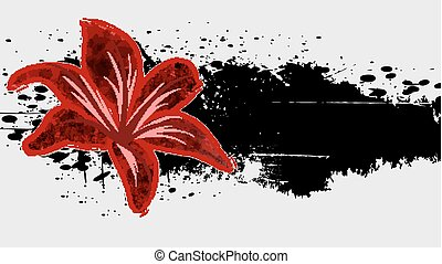 Abstract  grunge background with red flower.