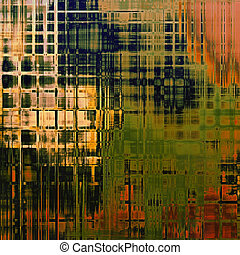 Abstract grunge background with retro design elements and different color patterns: yellow (beige); brown; red (orange); green