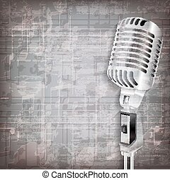 abstract grunge background with retro microphone