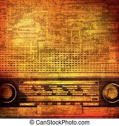 abstract brown grunge vintage sound background with retro radio