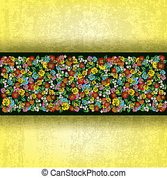 abstract grunge background with spring flowers