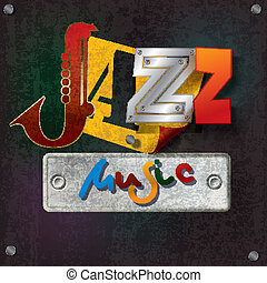 Abstract grunge background with text jazz music - Abstract...