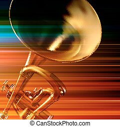 abstract grunge background with trumpet