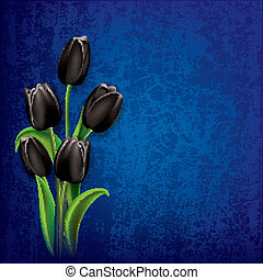 abstract grunge background with tulips