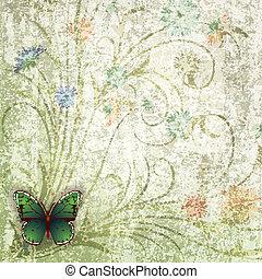 abstract grunge background with butterfly and flowers -...