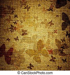 grunge butterflies on canvas