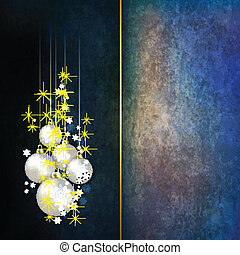 Abstract grunge celebration background with Christmas decorations on blue