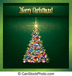 Abstract grunge Christmas greeting with tree