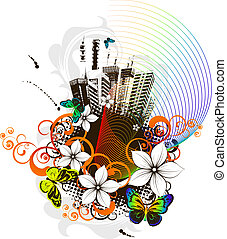 Abstract grunge city-life backgroun - Floral vector...