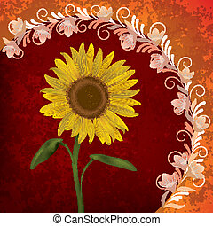 abstract grunge floral background with sunflower