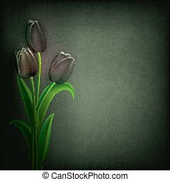 abstract grunge floral background with tulips