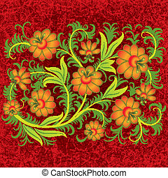 abstract grunge floral ornament with orange flowers on red