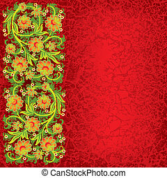 abstract grunge floral ornament with orange flowers