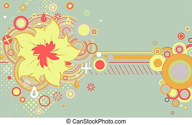 Abstract grunge flower theme with circles.