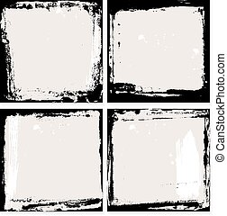 Abstract grunge frame set. Black and beige Background template. Vector