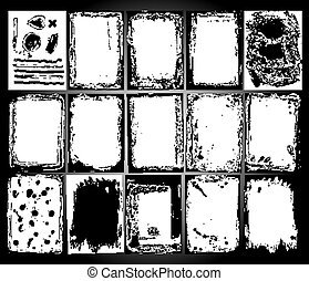 Abstract grunge frame set. Black and white Background template vector