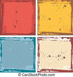 Abstract grunge frame set. red orange blue beige Background template. Vector