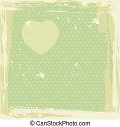 Abstract grunge frame. silhouette of heart on green background template. Vector