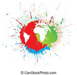 grunge globe - abstract grunge globe in ink splate, vector...