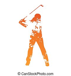 Abstract grunge golf player