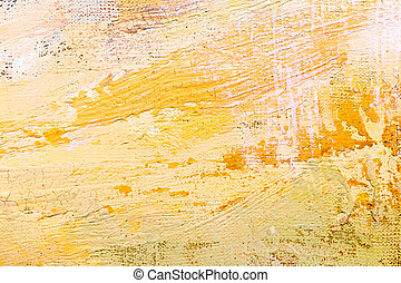 abstract grunge hand painted background with expressive yellow strokes