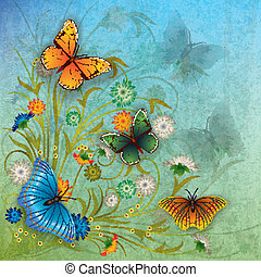 abstract grunge illustration with butterfly and flowers - ...