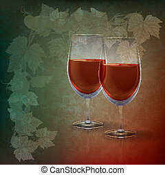 abstract grunge illustration with wineglasses on green