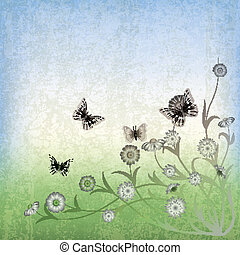 abstract grunge illustration with flowers and butterfly on...
