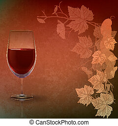 abstract grunge illustration with wineglass on red