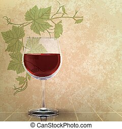 abstract grunge illustration with wineglass and grape leaves