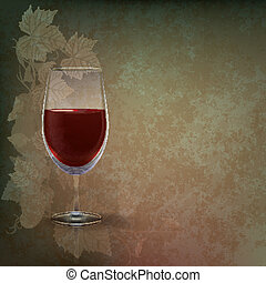 abstract grunge illustration with wineglass on green