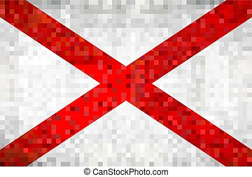 Abstract grunge mosaic flag of Alabama