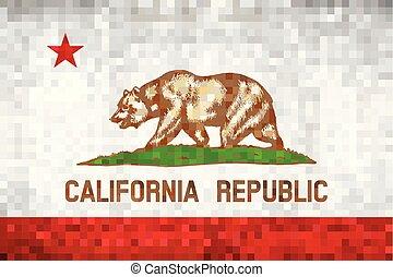 Abstract grunge mosaic flag of California