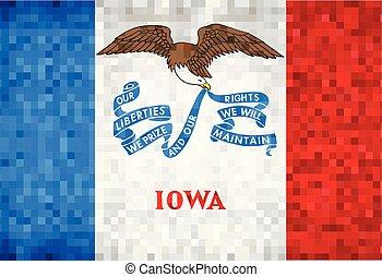 Abstract grunge mosaic flag of Iowa