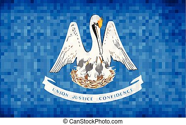 Abstract grunge mosaic flag of Louisiana