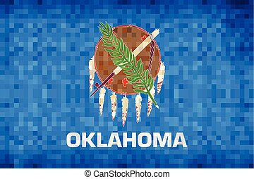 Abstract grunge mosaic flag of Oklahoma