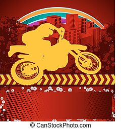 Abstract grunge motorcyclist poster