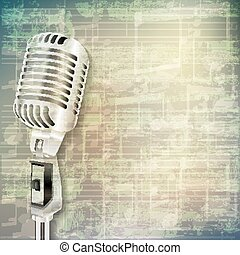 abstract grunge music background with retro microphone