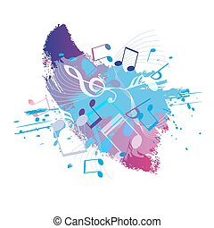 Abstract grunge music background with notes, vector