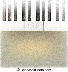 abstract grunge music background with piano keys on beige