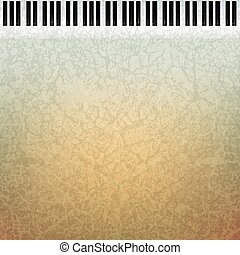 abstract grunge music background with piano keys on brown