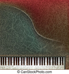 abstract grunge music background with piano keys on dark