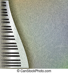 abstract grunge music background with piano keys on grey