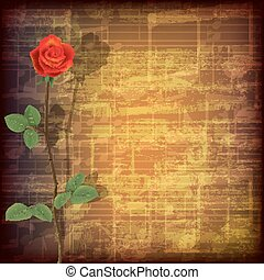 abstract grunge music background with red rose